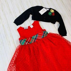 Blueberi Boulevard Dresses - Red Holiday Dress & Sweater Set -   2 piece NWT